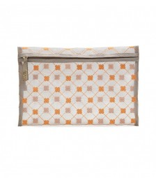 Cruciani Clutch Tasche aus Tüll taupe/orange